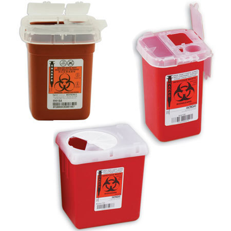 Phlebotomy sharps container in red