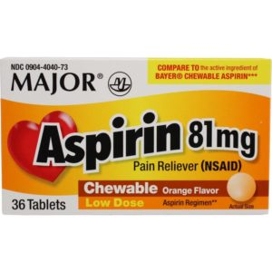 Aspirin, 81mg Chewable,