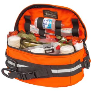 bleeding control and range trauma emergency supply kit, with the flap opened to reveal the contents of the kit
