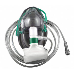 Nonrebreather mask used by a pulmonary patient.
