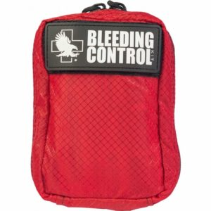 Bleeding control survival kit bag with details of contents included, such as tourniquet, blanket, gloves and more