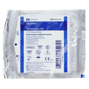 a package of lightweight Vaseline Petrolatum Gauze