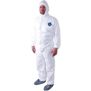 man wearing a dupont tyvek coverall disposable hazmat suit